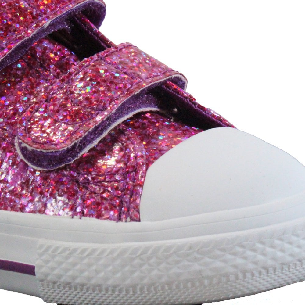 5568477affcc ... Converse Chuck Taylor All Stars 2V Ox 762346C Violet Sparkle Girls Rip  Tape Sneaker