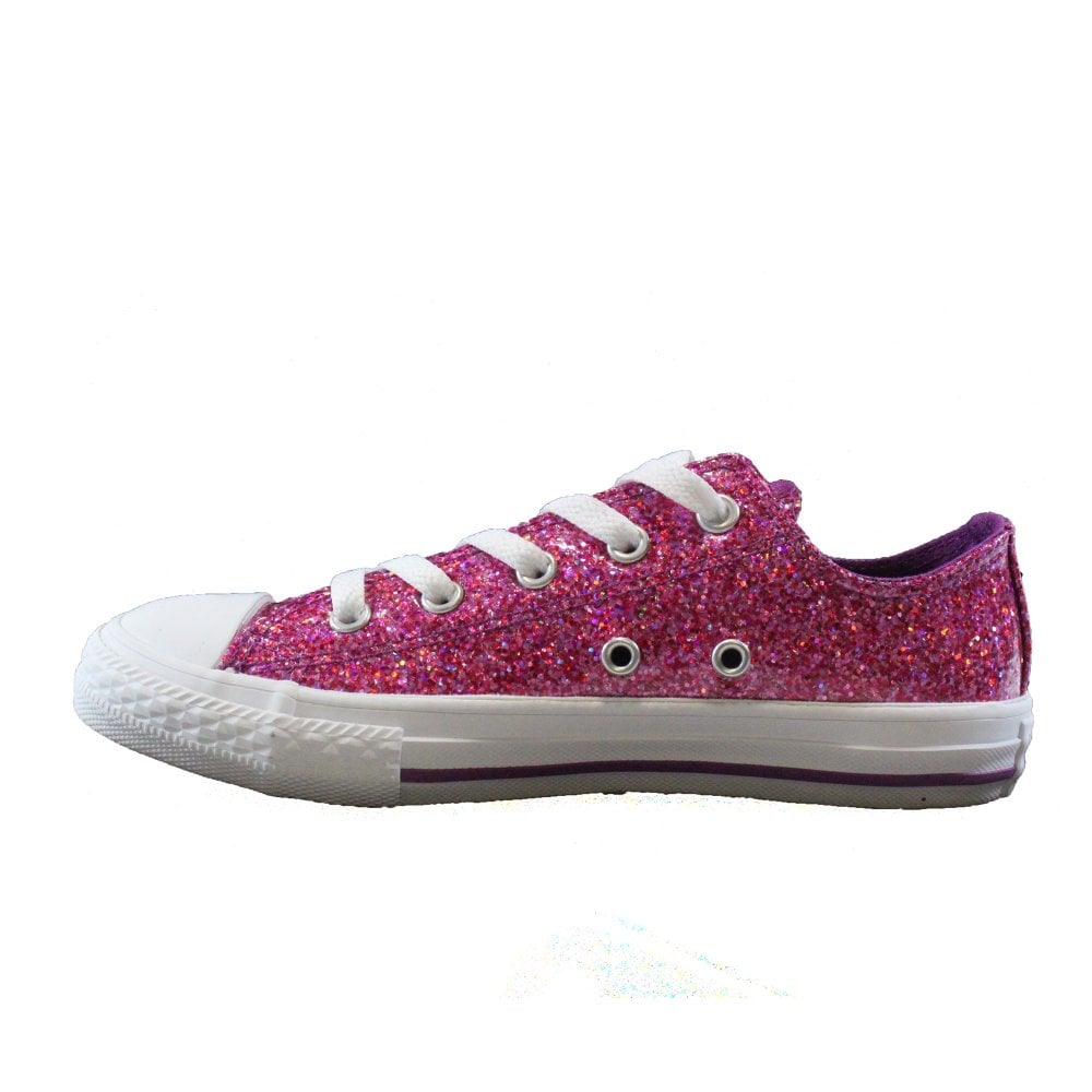 Converse Chuck Taylor All Stars Ox 662344C Violet Sparkle Girls Lace Up Sneakers