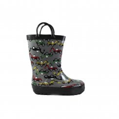 Digger Motif Grey Rubber Boys Pull On Wellington Boot