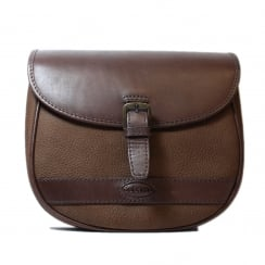 Clara Walnut Brown Leather Saddle Handbag