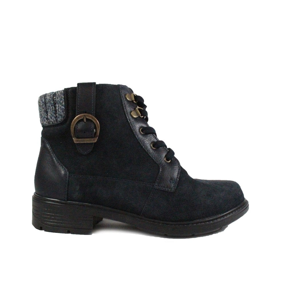 c7727fa0e8753 Mens Easy B Brook 2V Navy Leather Womens Wide Fit Ankle Boots | SALE ...