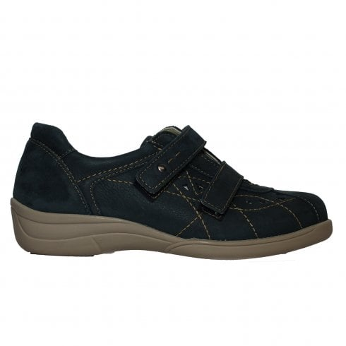 Easy B Cynthia 2V Navy Nubuck Leather Womens Wide Fit Rip Tape Shoes - UK 4
