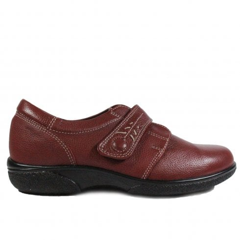 48109ece4da09 Easy B Healey 2E Red Leather Womens Wide Fitting Rip Tape Shoes - Easy B  from North Shoes UK