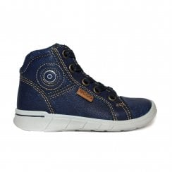 Indigo7 754021 01325 Blue Leather Boys Lace/Zip Up First Boot