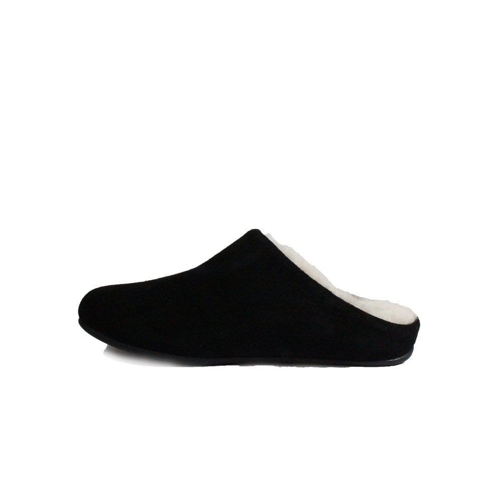 68bb92eed95d ... Fitflop Chrissie Shearling Black Suede Leather Womens Slip On Mule  Slipper ...