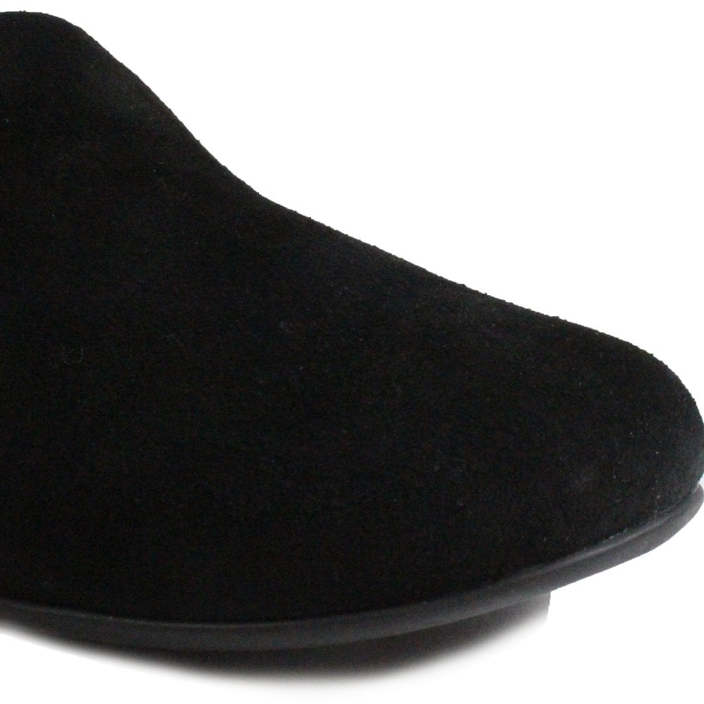 41098b9585fa ... Fitflop Chrissie Shearling Black Suede Leather Womens Slip On Mule  Slipper