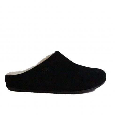 310912b1f630 Fitflop Chrissie Shearling Black Suede Leather Womens Slip On Mule Slipper  - Fitflop from North Shoes UK