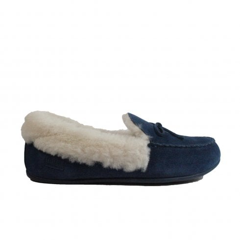 68f3d7e4938c Fitflop Clara Shearling Navy Suede Leather Womens Moccasin Full Shoe  Slipper - Fitflop from North Shoes UK