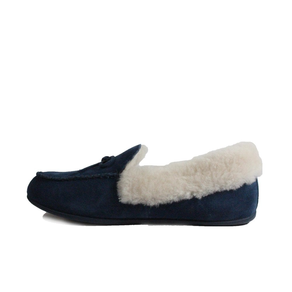 a2f3234fb7f0 ... Fitflop Clara Shearling Navy Suede Leather Womens Moccasin Full Shoe  Slipper ...