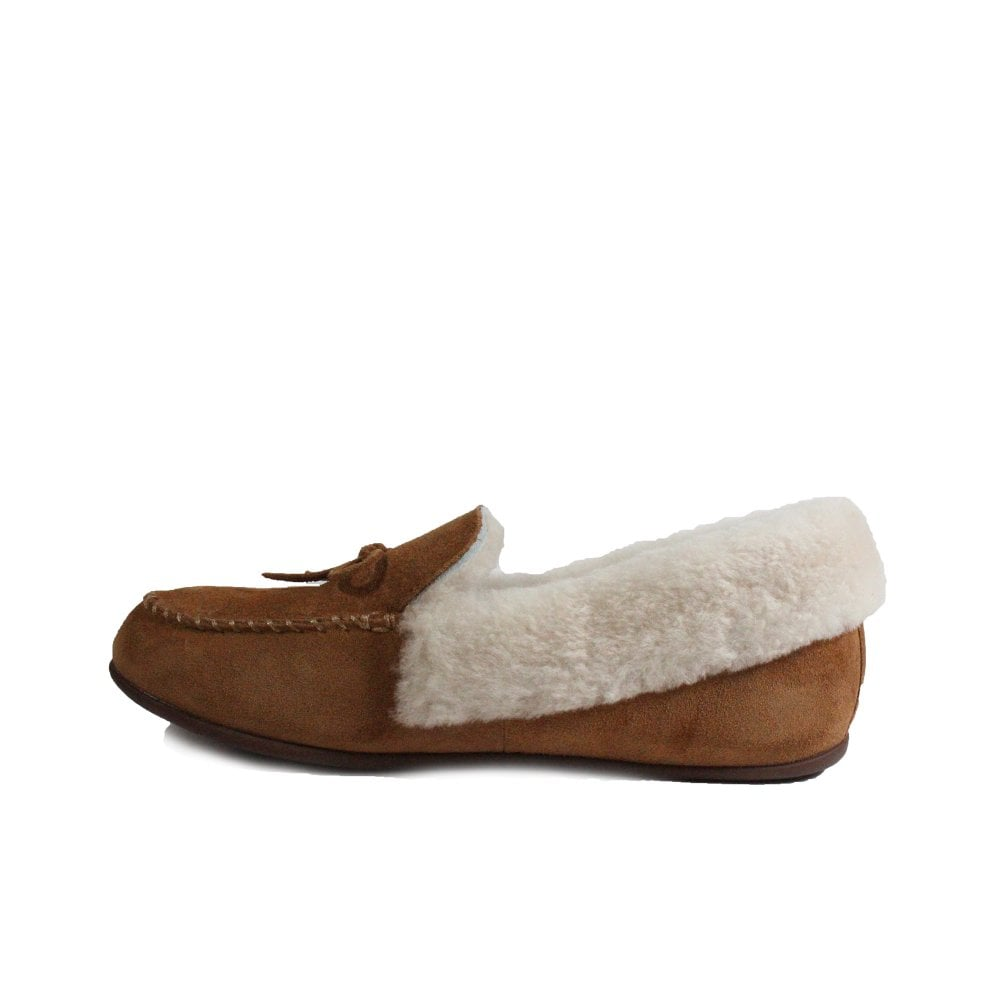 94d363d8bfd ... Fitflop Clara Shearling Tan Suede Leather Womens Moccasin Full Shoe  Slipper ...