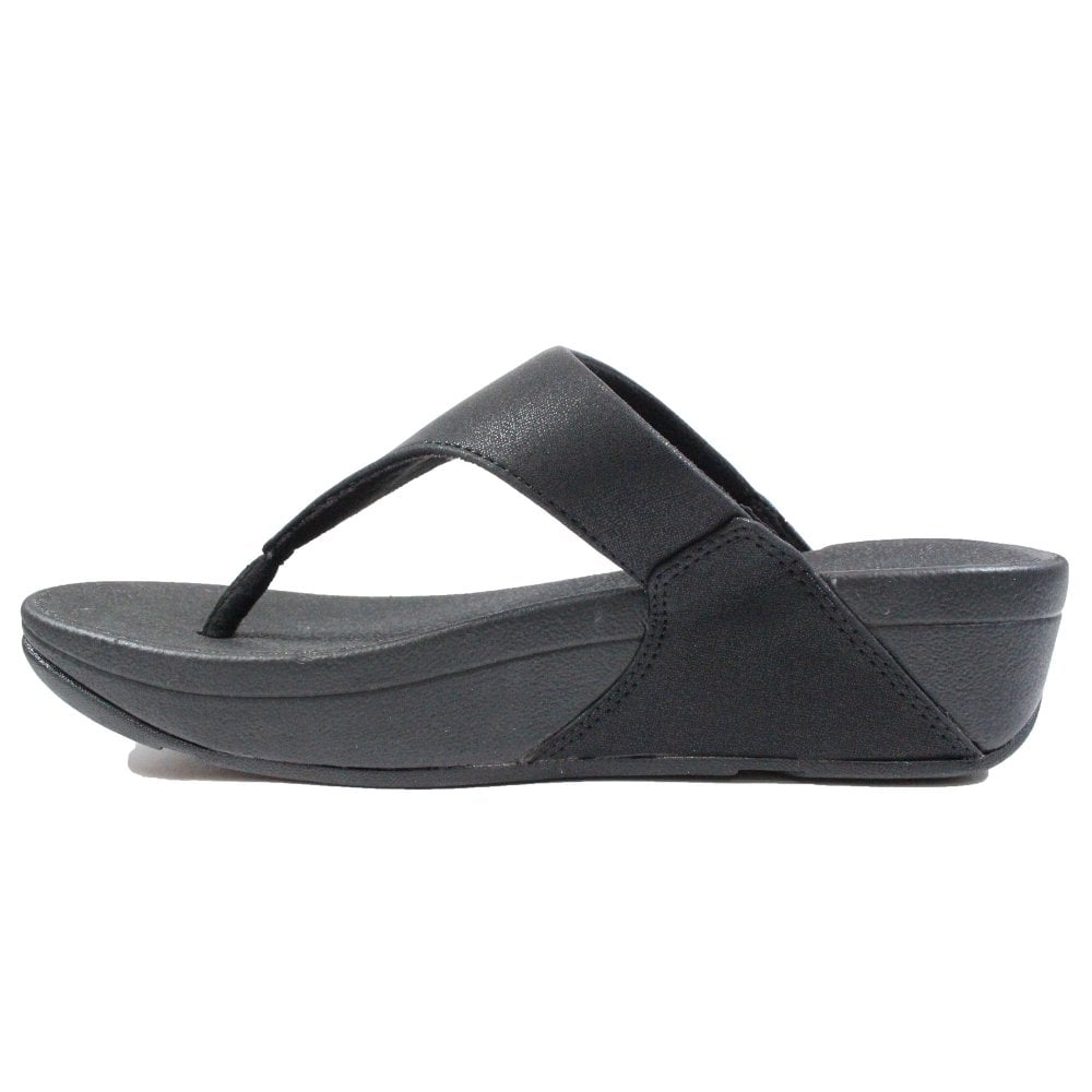 bd6df68fc6c4 Fitflop Lulu Shimmer Black Leather Womens Toe Post Sandals - Fitflop ...