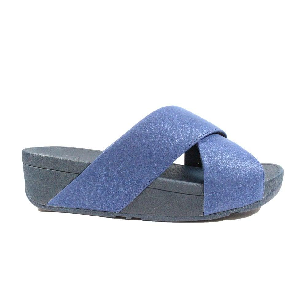best loved f94c9 f4d9f Lulu Shimmer Slide Navy Leather Womens Slip On Mule Sandals