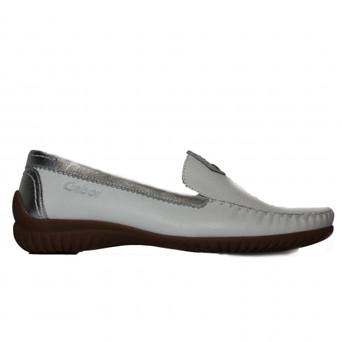 56e046f50b1 Gabor California 090-50 White Leather Womens Slip On Moccasin Shoes - Gabor  from North Shoes UK