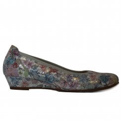 84f9664621fdf Chester 690-15 Multi Coloured Taupe Floral Textured Leather Womens Slip On  Shoes