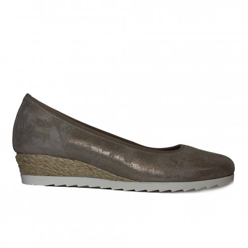 30a14e60652 Gabor Epworth 641-95 Metallic Taupe Leather Womens Wedge Slip On Shoes -  Gabor from North Shoes UK