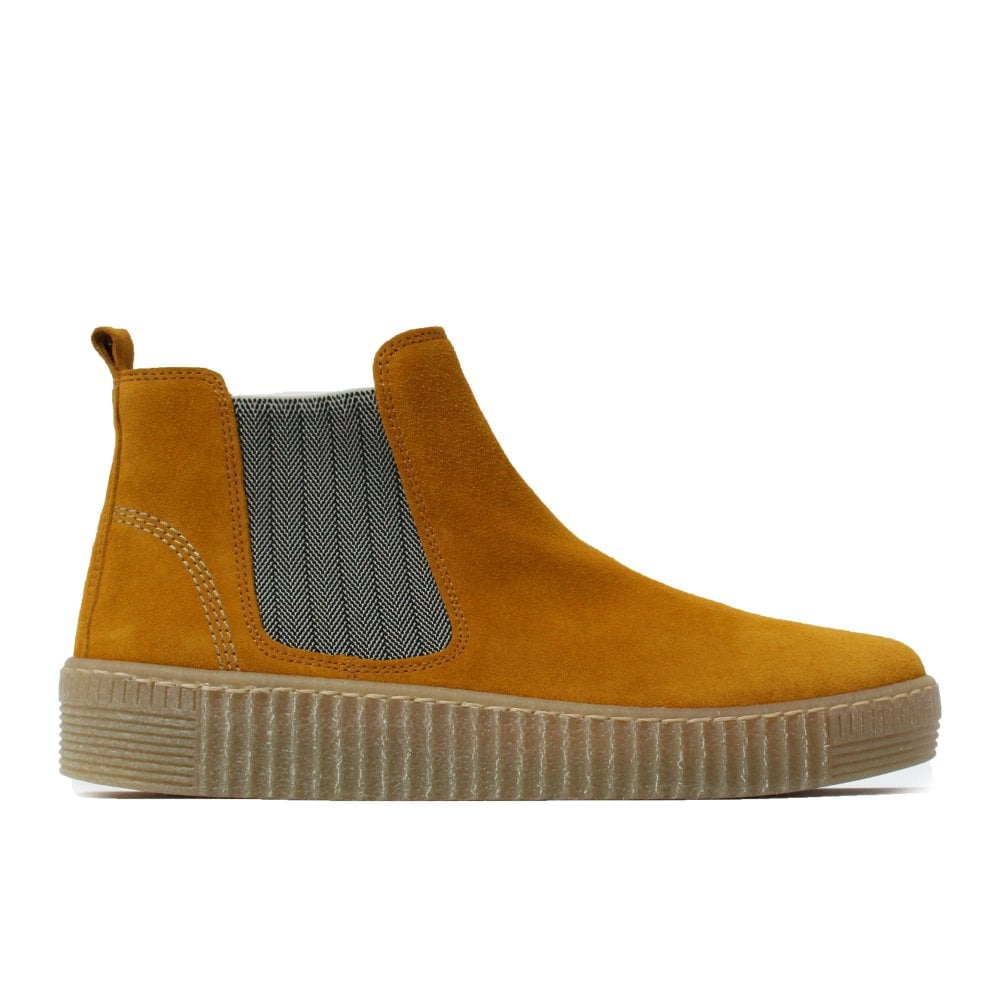 Yellow Suede Leather Womens Pull