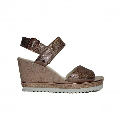 lace up in best sneakers good out x Gabor Wicket 790-64 Rose Gold Womens Buckled Wedge Sandals - UK 5½