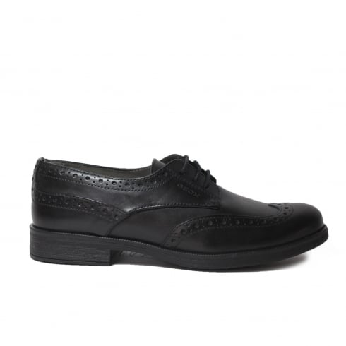 Geox Agata J3449C Black Leather Girls Lace Up Brogue School Shoe