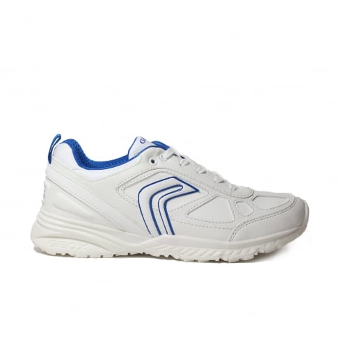 Geox Bernie J6411E White/Navy Leather School Lace Up Trainer