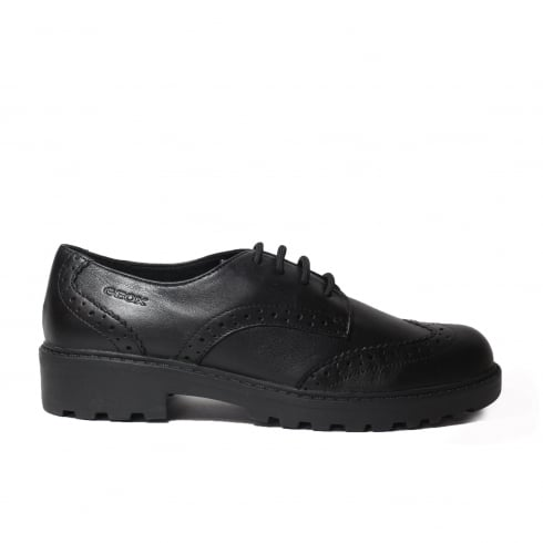 Geox Casey J6420N Black Leather Girls Lace Up Brogue School Shoe