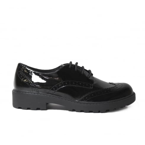 Geox Casey J6420N Black Patent Leather Girls lace Up Brogue School Shoe
