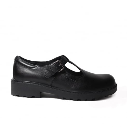 GEOX Casey J6420O Black Leather Girls T Bar School Shoe