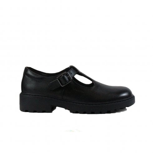 Geox Casey J8420E Black Leather Girls Buckle T Bar School Shoes