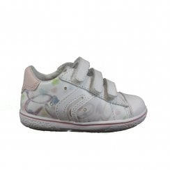 Flick B22L6A White Leather Girls Rip Tape Trainer