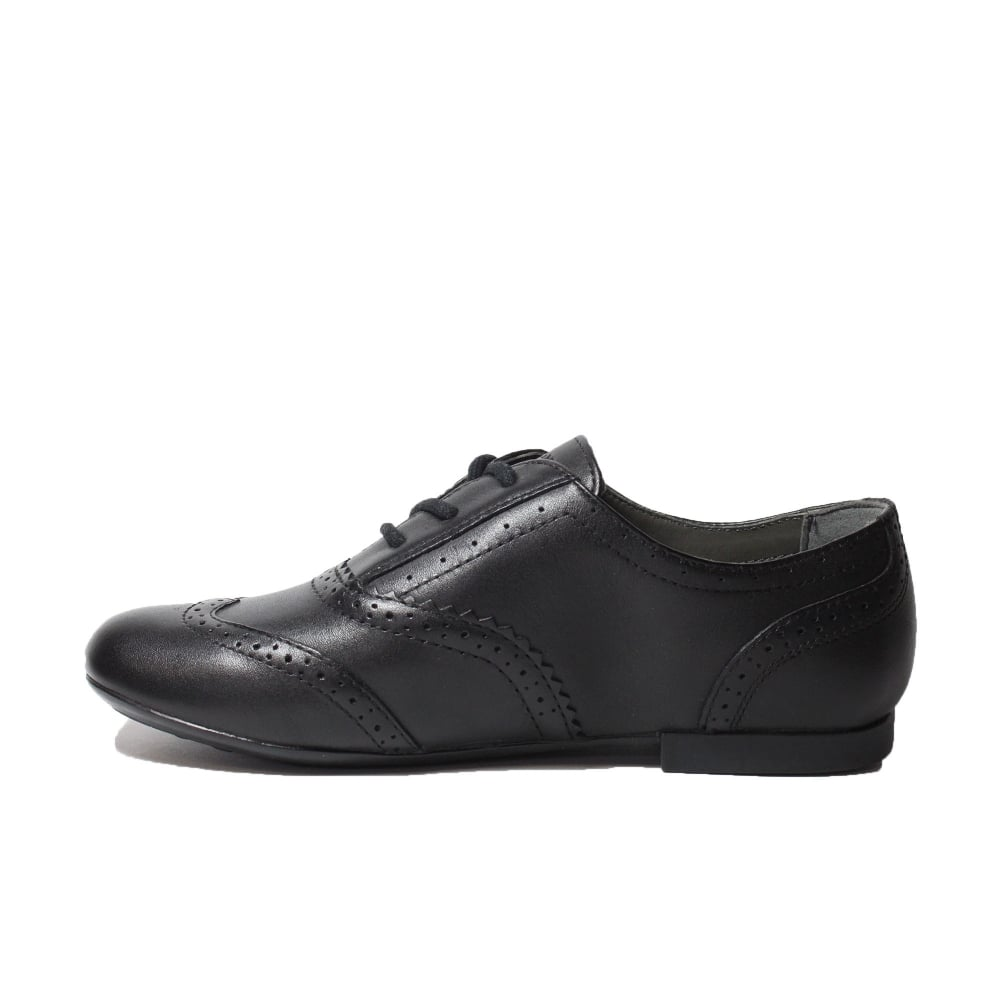 Geox Plie Girls Black Brogue School
