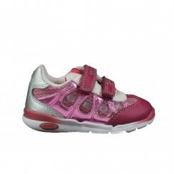 Runner B22H8C Pink Leather Girls Rip Tape Trainers