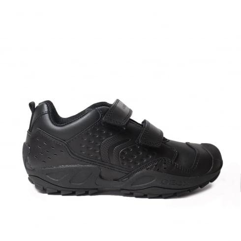 GEOX Savage J641VE Black Leather Boys Riptape Trainer School Shoe