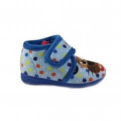 Dog Motif Blue Boys Adjustable Rip Tape Slipper