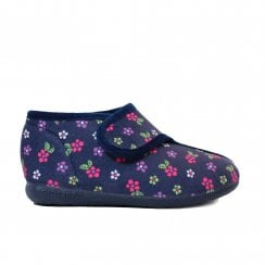 Florista Flower Print Navy Girls Adjustable Rip Tape Slipper