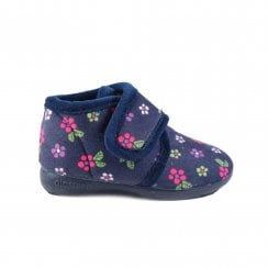 Flower Print Purple Girls Adjustable Rip Tape Slipper