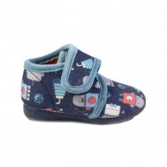 Robot Print Navy Boys Adjustable Rip Tape Slipper