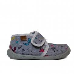 Unicorn Print Grey Childrens Adjustable Rip Tape Slipper