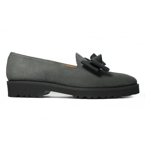 HB ITALIA 5816 Grey Suede Leather Womens Slip On Loafer Shoe