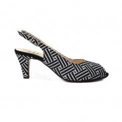 B272 Black And White Aztec Leather Womens Heeled Slingback Sandal