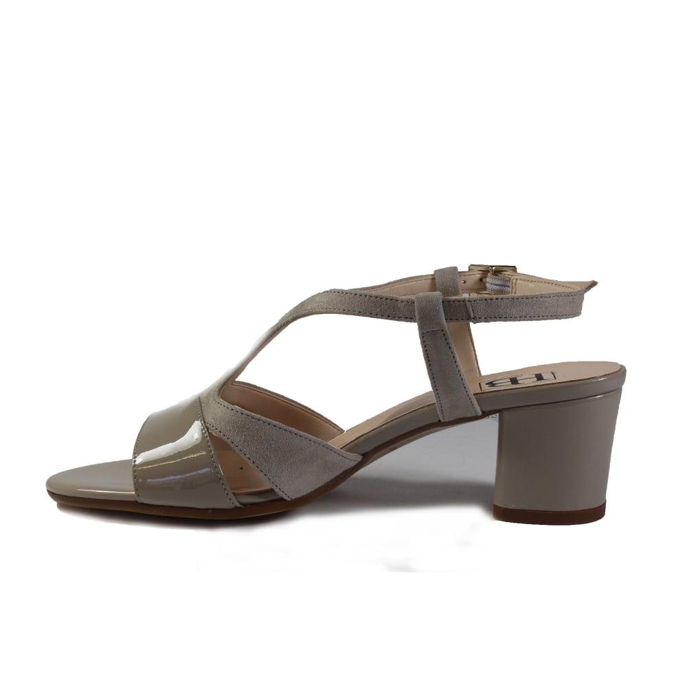 cdde671eee8 ... HB Italia B741 Beige Patent Suede Leather Womens Block Heel Strapy  Sandal ...