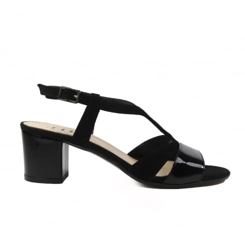 c877abe5275 HB Italia B741 Black Patent Suede Leather Womens Block Heel Strapy Sandal -  HB Italia from North Shoes UK