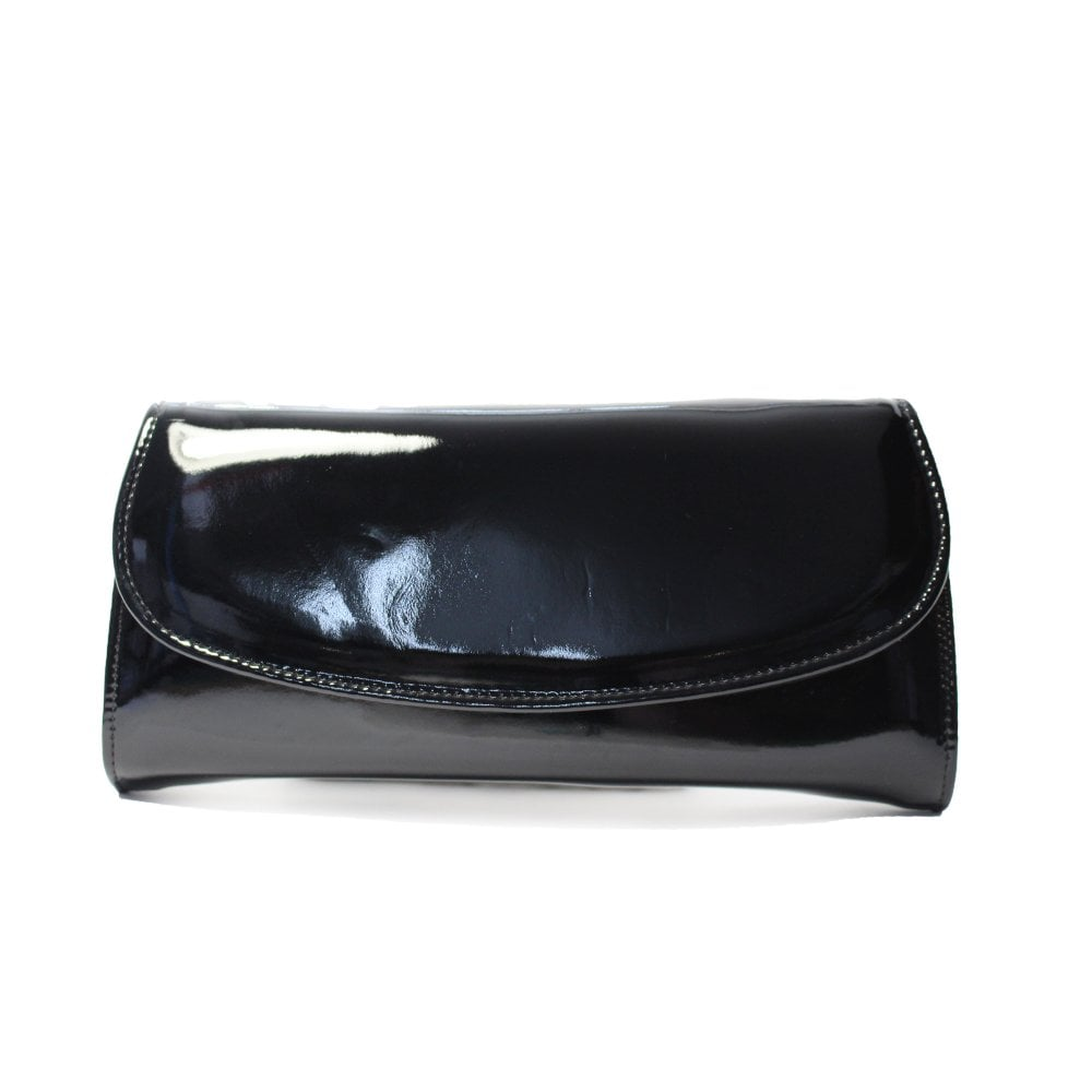 4ecc07d6004 Claudia Black Patent Leather Clutch Handbag