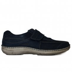 Alec Navy Nubuck Leather Mens Rip Tape Shoes