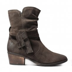 Daphne 05 Brown Suede Leather Womens Heeled Mid Calf Boots