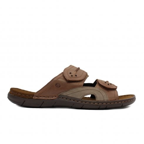 Josef Seibel Paul 07 Brown Leather Mens Slip On Mule Sandals