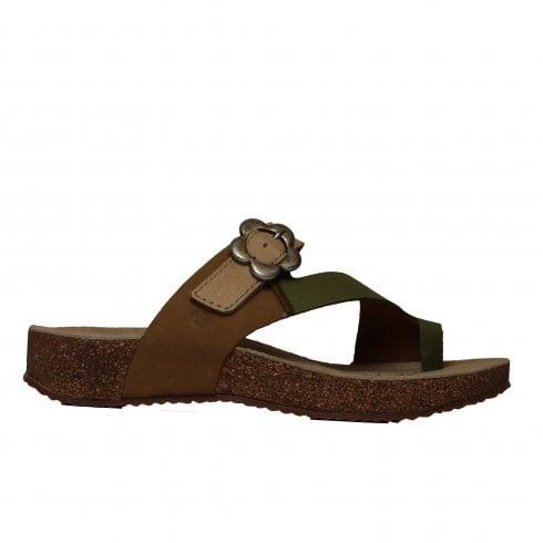 ba8c40c591eaf Josef Seibel Tonga 23 Green Nubuck Leather Womens Slip On Mule Sandals - Josef  Seibel from North Shoes UK