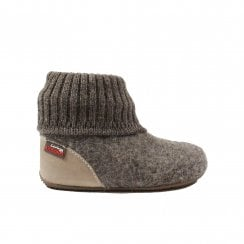 1428 Brown Wool Pull On Slipper Boots