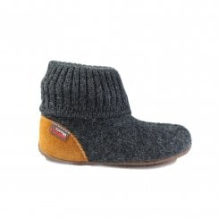 1428 Grey Wool Childrens Pull On Slipper Boot