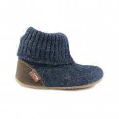 1428 Navy Wool Childrens Pull On Slipper Boot
