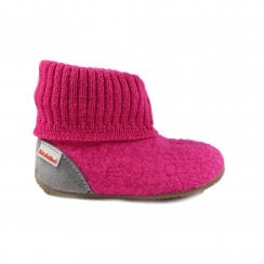 1428 Pink Wool Girls Pull On Slipper Boot