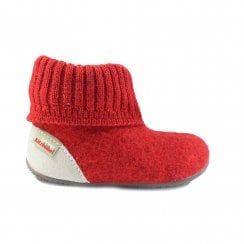 1428 Red Wool Childrens Pull On Slipper Boot